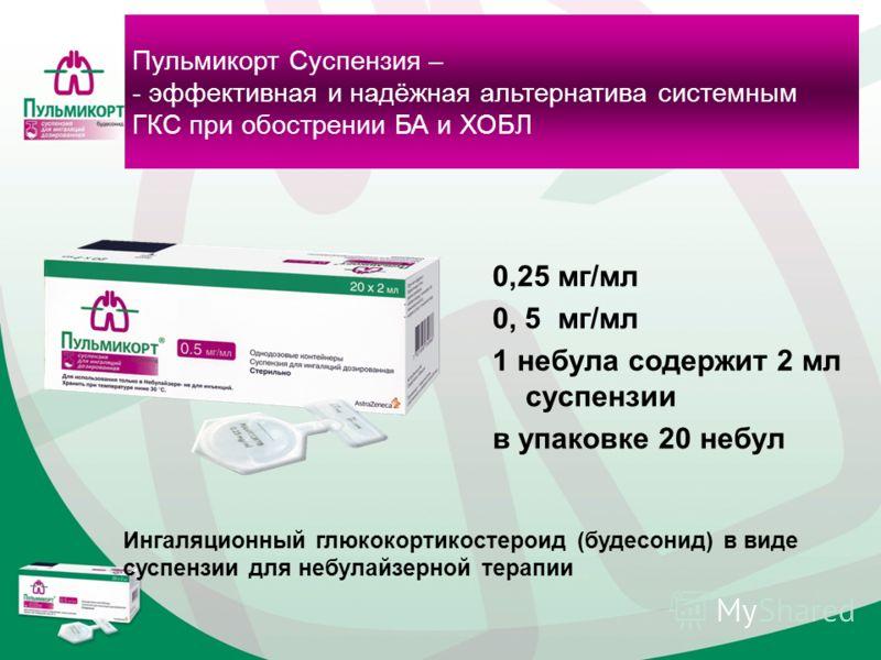 Пульмикорт Суспензия – - эффективная и надёжная альтернатива системным ГКС при обострении БА и ХОБЛ Ингаляционный глюкокортикостероид (будесонид) в виде суспензии для небулайзерной терапии 0,25 мг/мл 0, 5 мг/мл 1 небула содержит 2 мл суспензии в упак