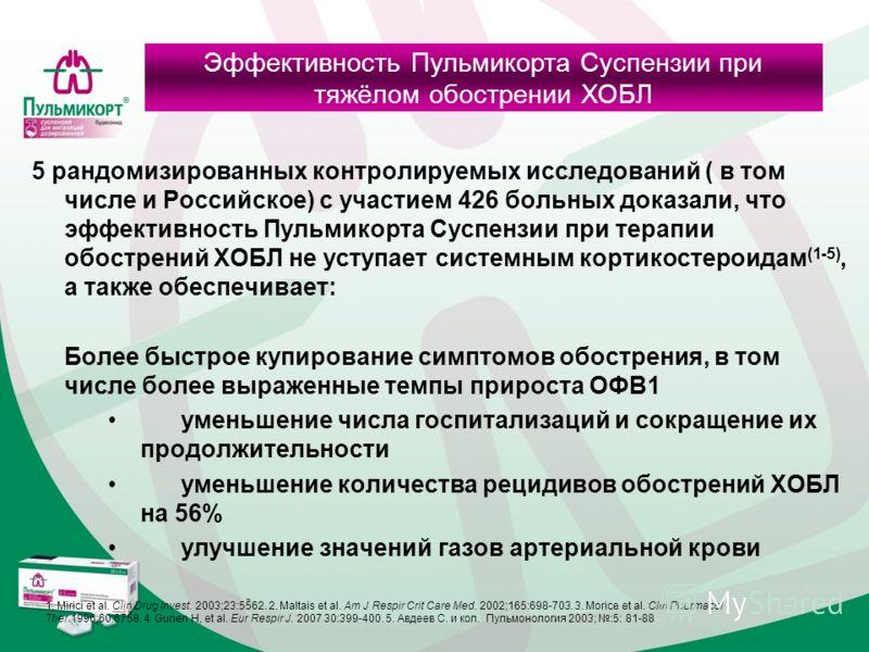 5 рандомизированных контролируемых исследований ( в том числе и Российское) с участием 426 больных доказали, что эффективность Пульмикорта Суспензии при терапии обострений ХОБЛ не уступает системным кортикостероидам (1-5), а также обеспечивает: Более