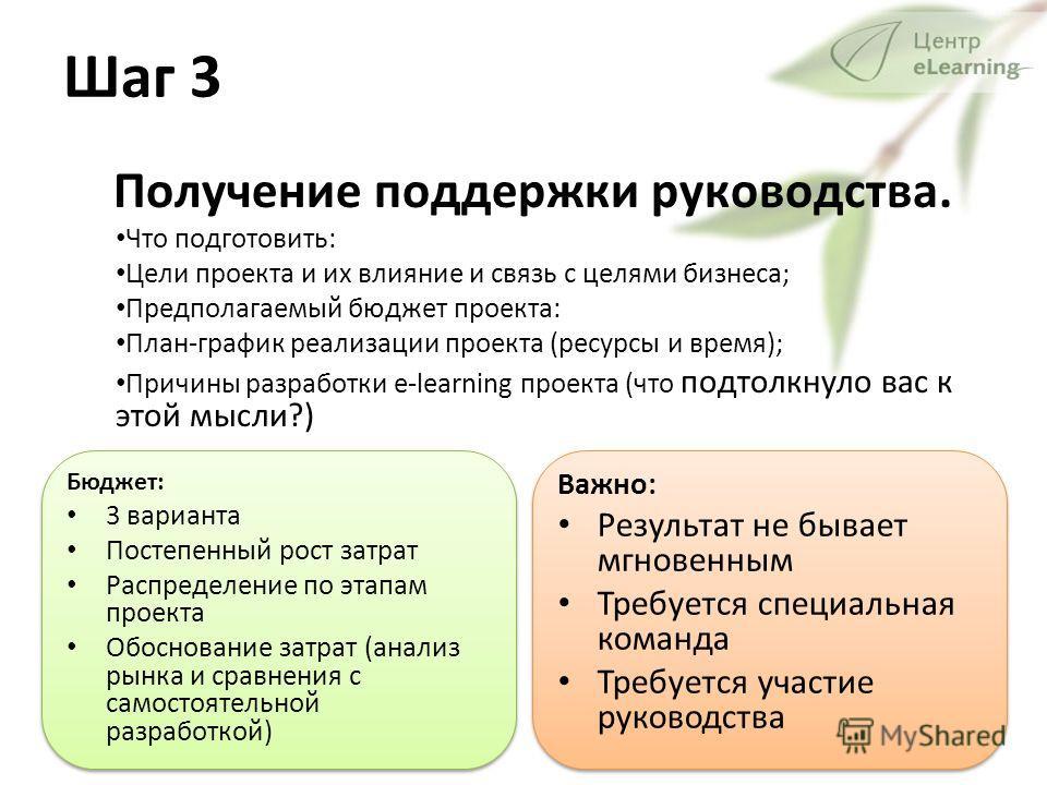 Шаг 3 Получение поддержки руководства. Что подготовить: Цели проекта и их влияние и связь с целями бизнеса; Предполагаемый бюджет проекта: План-график реализации проекта (ресурсы и время); Причины разработки e-learning проекта (что подтолкнуло вас к