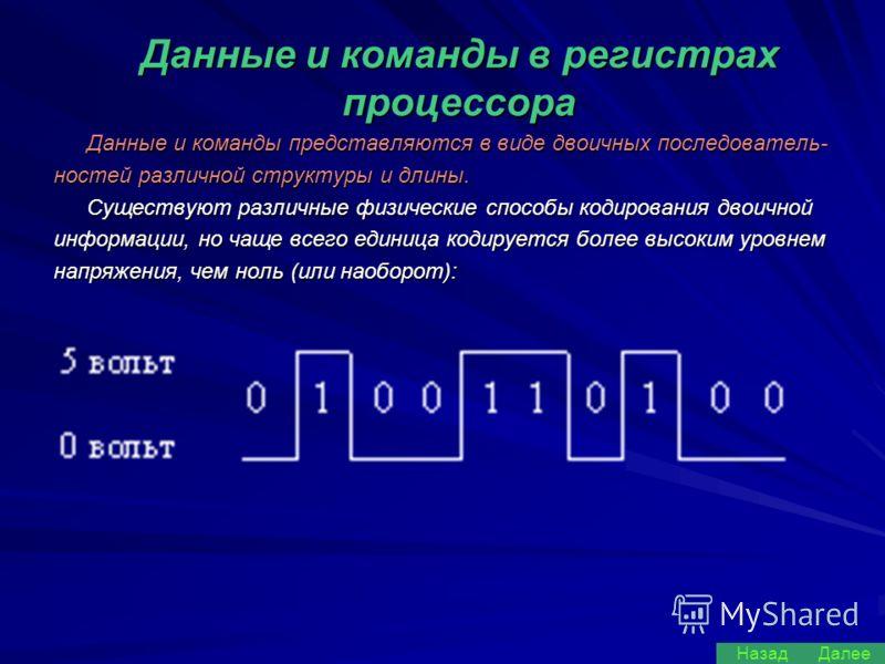 Данные и команды в регистрах процессора Данные и команды представляются в виде двоичных последователь- ностей различной структуры и длины. Существуют различные физические способы кодирования двоичной информации, но чаще всего единица кодируется более