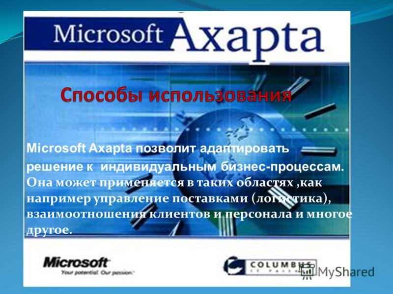 Microsoft Axapta позволит адаптировать решение к индивидуальным бизнес-процессам. Она может применяется в таких областях,как например управление поставками (логистика), взаимоотношения клиентов и персонала и многое другое.