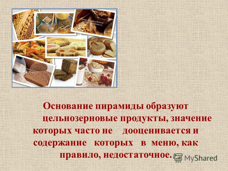 Основание пирамиды образуют цельнозерновые продукты, значение которых часто не дооценивается и содержание которых в меню, как правило, недостаточное.
