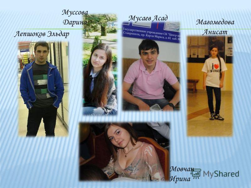 Лепшоков Эльдар Муссова Дарина Мусаев Асад Магомедова Анисат Мовчан Ирина