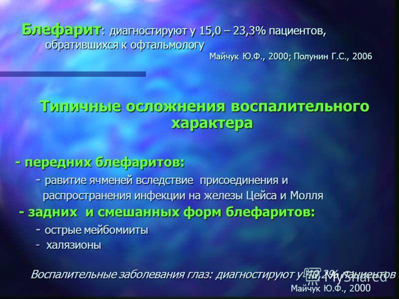 Блефарит : диагностируют у 15,0 – 23,3% пациентов, обратившихся к офтальмологу Майчук Ю.Ф., 2000; Полунин Г.С., 2006 Типичные осложнения воспалительного характера - передних блефаритов: - равитие ячменей вследствие присоединения и - равитие ячменей в