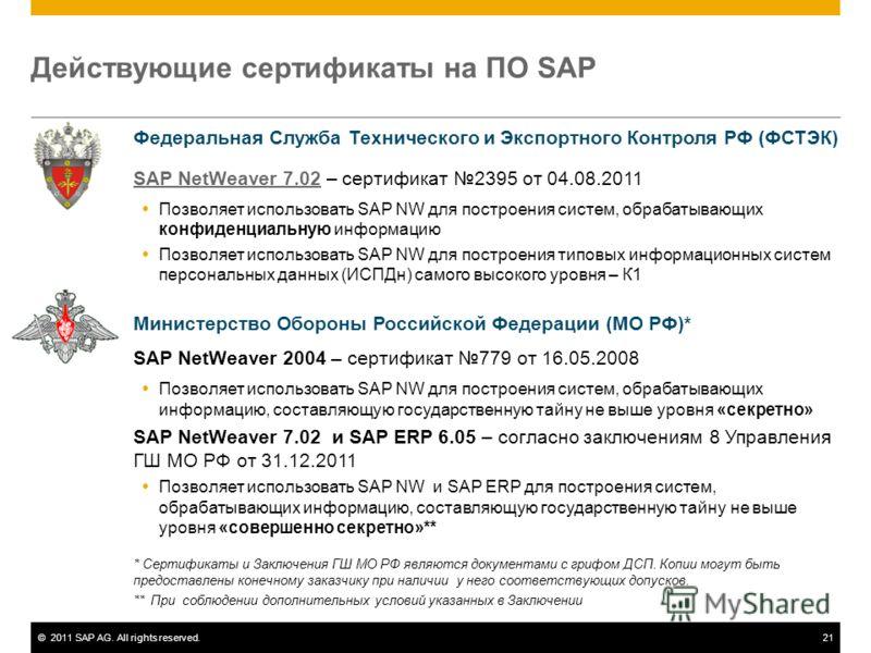 ©2011 SAP AG. All rights reserved.21 Действующие сертификаты на ПО SAP Федеральная Служба Технического и Экспортного Контроля РФ (ФСТЭК) SAP NetWeaver 7.02SAP NetWeaver 7.02 – сертификат 2395 от 04.08.2011 Позволяет использовать SAP NW для построения