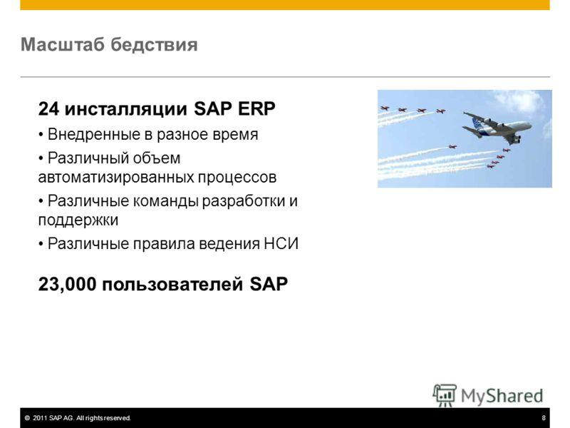 ©2011 SAP AG. All rights reserved.8 Масштаб бедствия 24 инсталляции SAP ERP Внедренные в разное время Различный объем автоматизированных процессов Различные команды разработки и поддержки Различные правила ведения НСИ 23,000 пользователей SAP