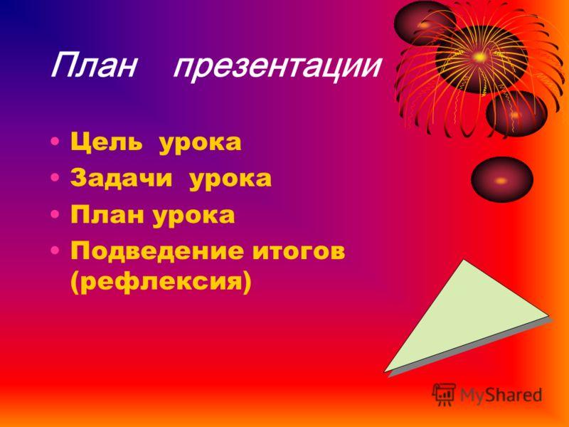 План презентации Цель урока Задачи урока План урока Подведение итогов (рефлексия)