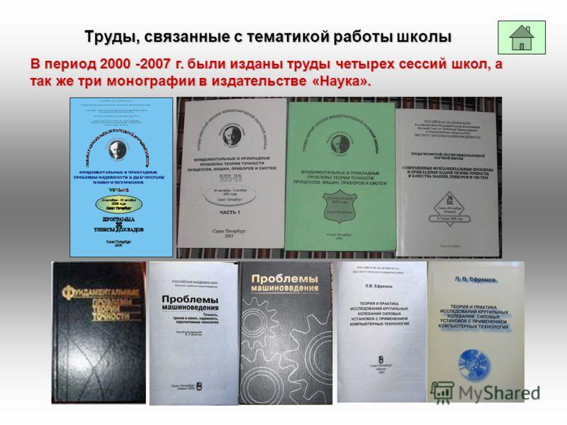 Труды, связанные с тематикой работы школы В период 2000 -2007 г. были изданы труды четырех сессий школ, а так же три монографии в издательстве «Наука».