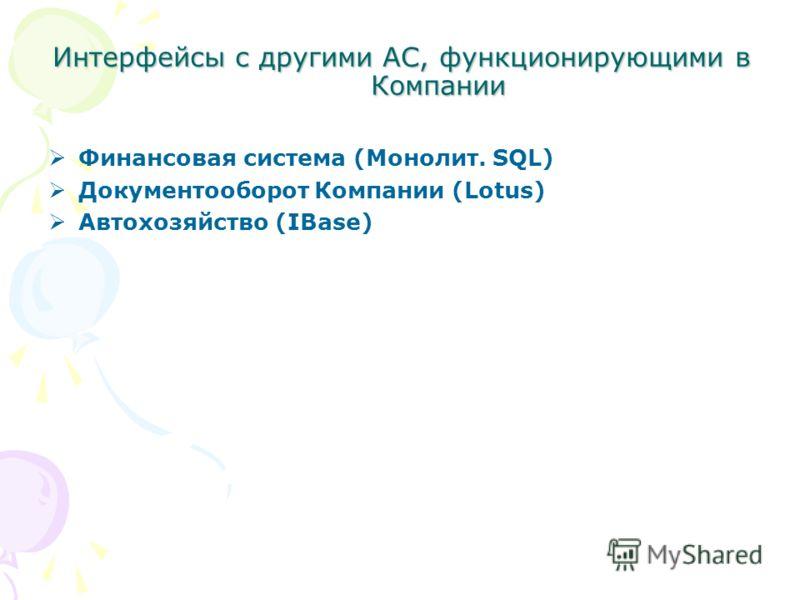 Интерфейсы с другими АС, функционирующими в Компании Финансовая система (Монолит. SQL) Документооборот Компании (Lotus) Автохозяйство (IBase)
