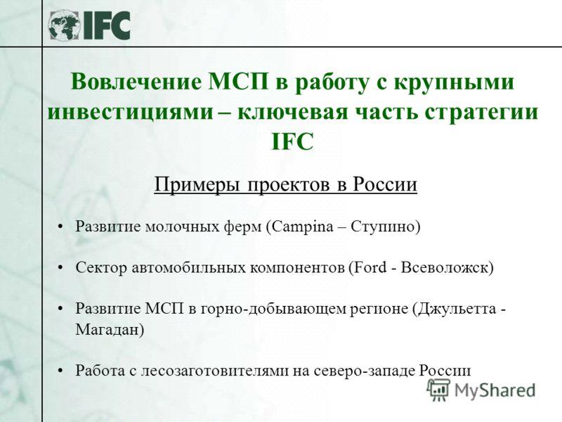 Вовлечение МСП в работу с крупными инвестициями – ключевая часть стратегии IFC Развитие молочных ферм (Campina – Ступино) Сектор автомобильных компонентов (Ford - Всеволожск) Развитие МСП в горно-добывающем регионе (Джульетта - Магадан) Работа с лесо