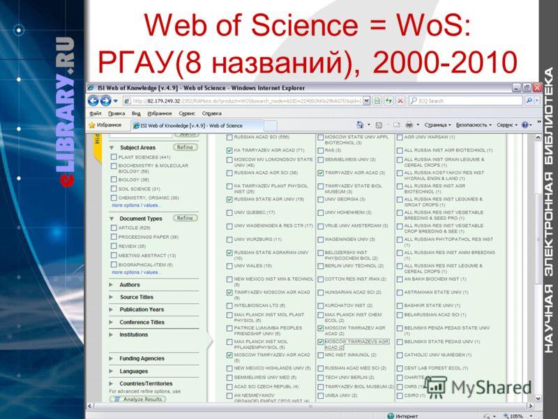 Web of Science = WoS: РГАУ(8 названий), 2000-2010