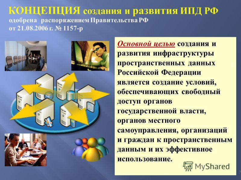 7 Основной целью создания и развития инфраструктуры пространственных данных Российской Федерации является создание условий, обеспечивающих свободный доступ органов государственной власти, органов местного самоуправления, организаций и граждан к прост
