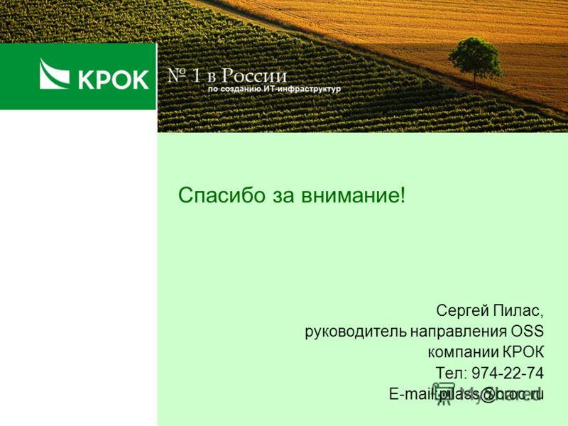 Спасибо за внимание! Сергей Пилас, руководитель направления OSS компании КРОК Тел: 974-22-74 E-mail:pilass@croc.ru
