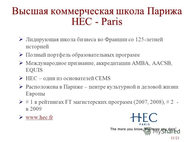 Высшая коммерческая школа Парижа HEC - Paris Лидирующая школа бизнеса во Франции со 125-летней историей Полный портфель образовательных программ Международное признание, аккредитации AMBA, AACSB, EQUIS HEC – один из основателей CEMS Расположена в Пар