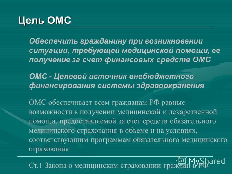 Обеспечить гражданину при возникновении ситуации, требующей медицинской помощи, ее получение за счет финансовых средств ОМС ОМС - Целевой источник внебюджетного финансирования системы здравоохранения ОМС обеспечивает всем гражданам РФ равные возможно