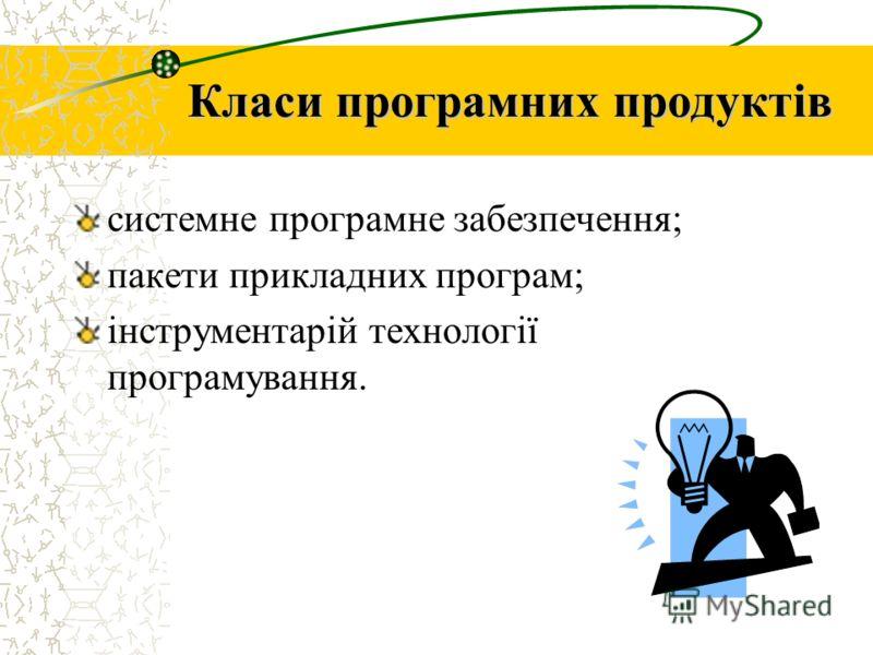 Класи програмних продуктів системне програмне забезпечення; пакети прикладних програм; інструментарій технології програмування.
