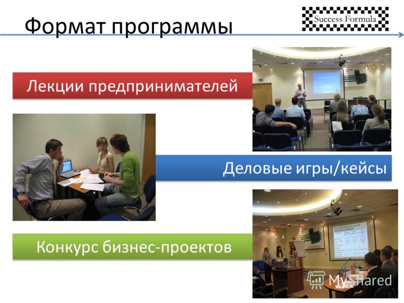 Формат программы Лекции предпринимателей Деловые игры/кейсы Конкурс бизнес-проектов