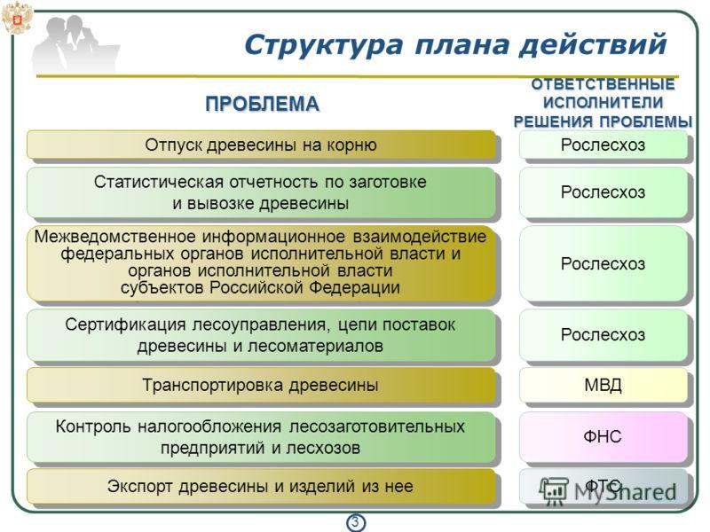 3 Структура плана действий Отпуск древесины на корню Статистическая отчетность по заготовке и вывозке древесины Рослесхоз Межведомственное информационное взаимодействие федеральных органов исполнительной власти и органов исполнительной власти субъект