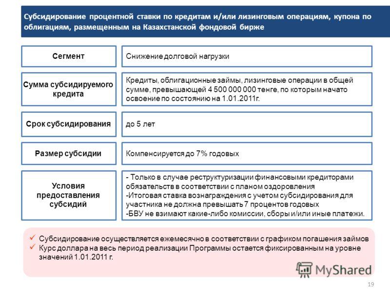 19 Субсидирование процентной ставки по кредитам и/или лизинговым операциям, купона по облигациям, размещенным на Казахстанской фондовой бирже СегментСнижение долговой нагрузки Сумма субсидируемого кредита Кредиты, облигационные займы, лизинговые опер
