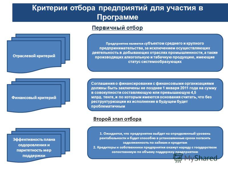 Критерии отбора предприятий для участия в Программе Отраслевой критерий Предприятие является с убъектом среднего и крупного предпринимательства, за исключением осуществляющих деятельность в добывающих отраслях промышленности, а также производящих алк