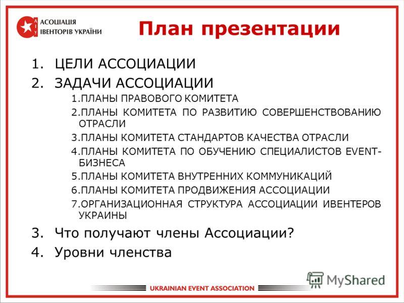План презентации 1.ЦЕЛИ АССОЦИАЦИИ 2.ЗАДАЧИ АССОЦИАЦИИ 1.ПЛАНЫ ПPАВОВОГО КОМИТЕТА 2.ПЛАНЫ КОМИТЕТА ПО РАЗВИТИЮ СОВЕРШЕНСТВОВАНИЮ ОТРАСЛИ 3.ПЛАНЫ КОМИТЕТА СТАНДАРТОВ КАЧЕСТВА ОТРАСЛИ 4.ПЛАНЫ КОМИТЕТА ПО ОБУЧЕНИЮ СПЕЦИАЛИСТОВ EVENT- БИЗНЕСА 5.ПЛАНЫ КОМ