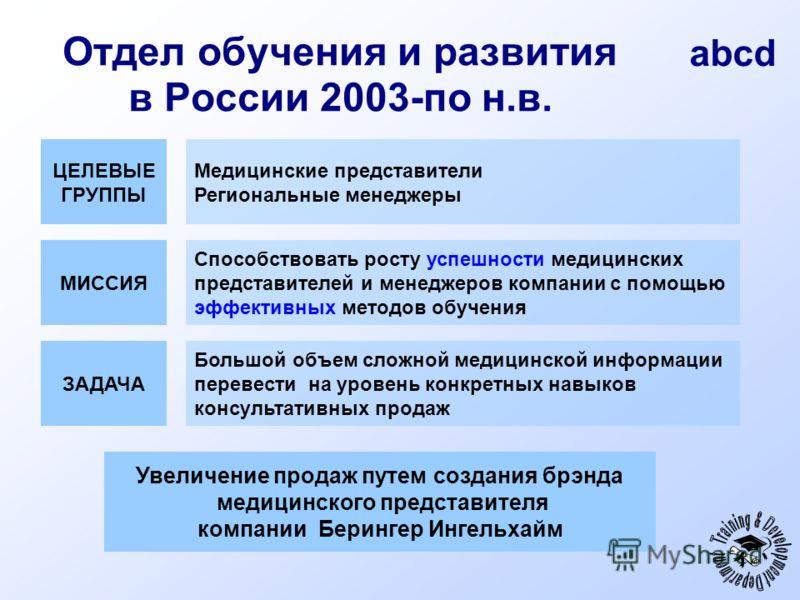 abcd Отдел обучения и развития в России 2003-по н.в. МИССИЯ Способствовать росту успешности медицинских представителей и менеджеров компании с помощью эффективных методов обучения ЦЕЛЕВЫЕ ГРУППЫ Медицинские представители Региональные менеджеры ЗАДАЧА