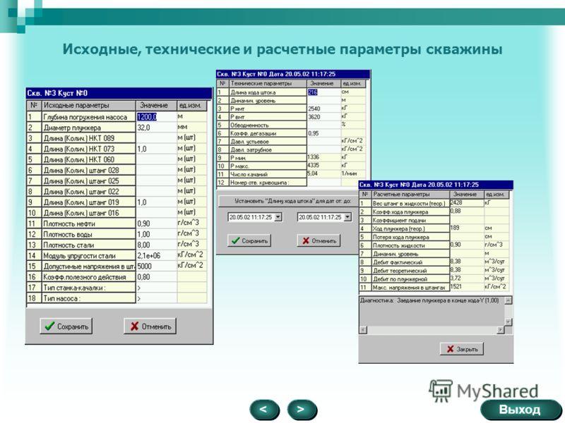 Исходные, технические и расчетные параметры скважины > > Выход <