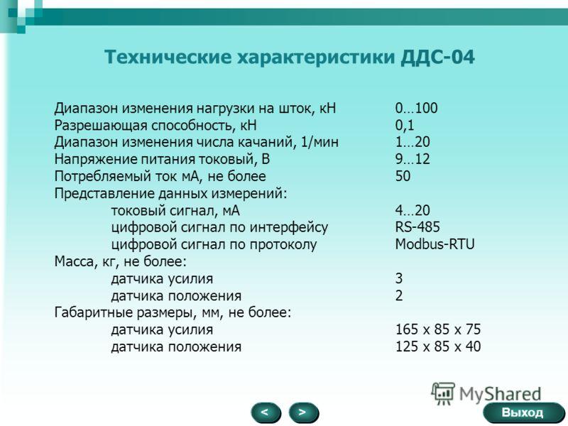 Выход > > < < Технические характеристики ДДС-04 Диапазон изменения нагрузки на шток, кН0…100 Разрешающая способность, кН0,1 Диапазон изменения числа качаний, 1/мин1…20 Напряжение питания токовый, В9…12 Потребляемый ток мА, не более50 Представление да
