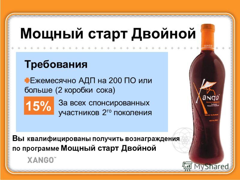 Мощный старт Двойной Вы квалифицированы получить вознаграждения по программе Мощный старт Двойной Требования Ежемесячно АДП на 200 ПО или больше (2 коробки сока) 15% За всех спонсированных участников 2 го поколения