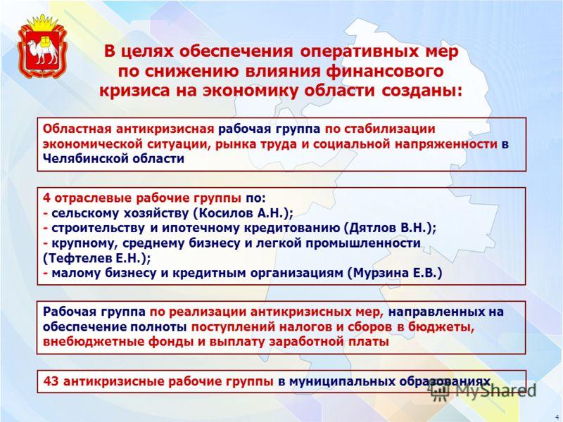 4 4 отраслевые рабочие группы по: - сельскому хозяйству (Косилов А.Н.); - строительству и ипотечному кредитованию (Дятлов В.Н.); - крупному, среднему бизнесу и легкой промышленности (Тефтелев Е.Н.); - малому бизнесу и кредитным организациям (Мурзина