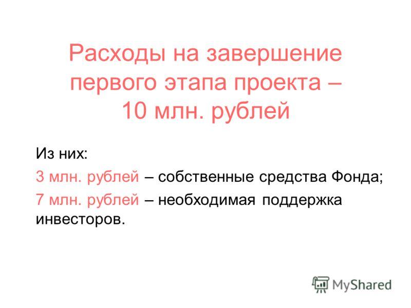 Расходы на завершение первого этапа проекта – 10 млн. рублей Из них: 3 млн. рублей – собственные средства Фонда; 7 млн. рублей – необходимая поддержка инвесторов.