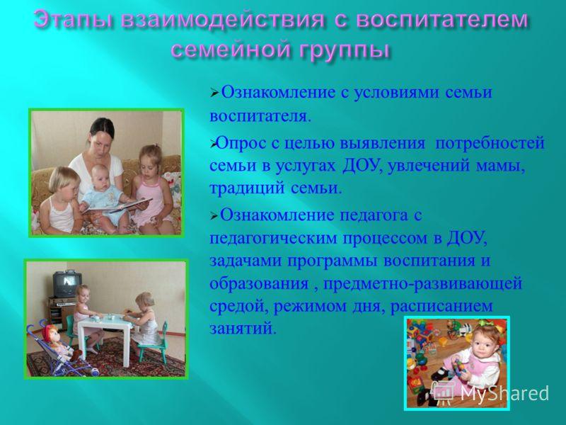 Ознакомление с условиями семьи воспитателя. Опрос с целью выявления потребностей семьи в услугах ДОУ, увлечений мамы, традиций семьи. Ознакомление педагога с педагогическим процессом в ДОУ, задачами программы воспитания и образования, предметно - раз