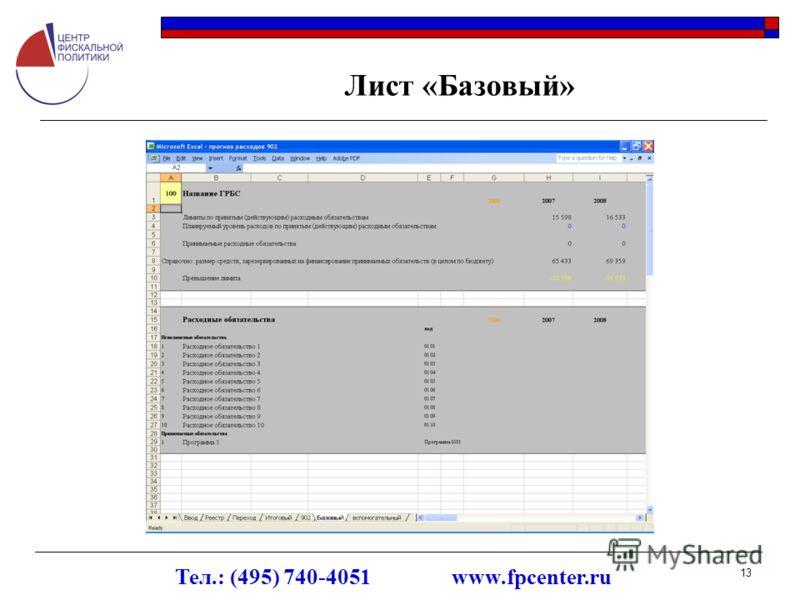 Тел.: (495) 740-4051 www.fpcenter.ru 13 Лист «Базовый»