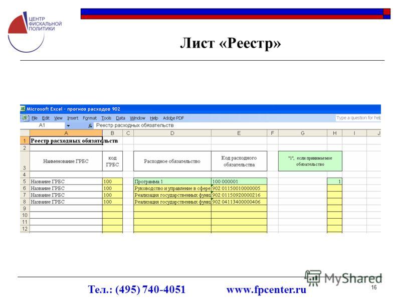 Тел.: (495) 740-4051 www.fpcenter.ru 16 Лист «Реестр»
