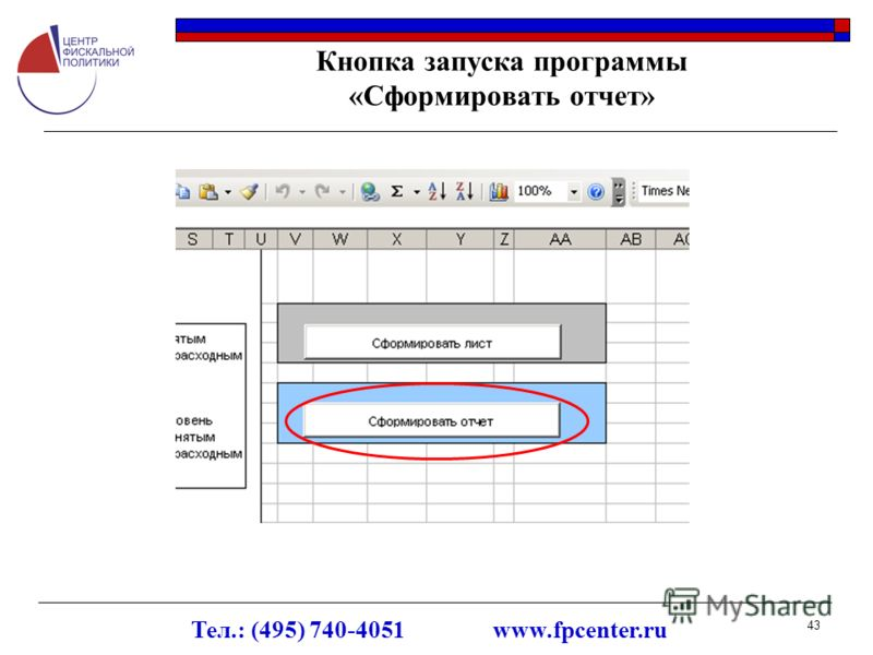 Тел.: (495) 740-4051 www.fpcenter.ru 43 Кнопка запуска программы «Сформировать отчет»