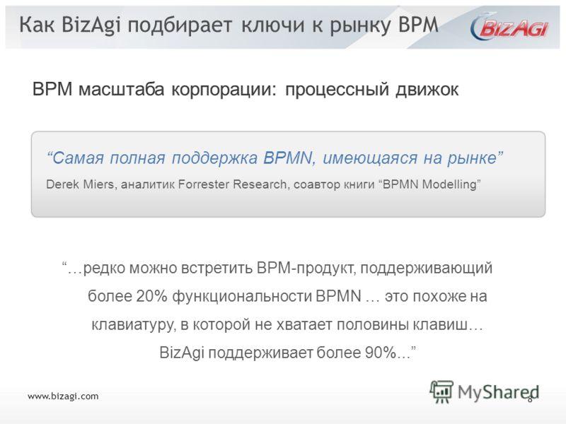 www.bizagi.com Как BizAgi подбирает ключи к рынку BPM Самая полная поддержка BPMN, имеющаяся на рынке Derek Miers, аналитик Forrester Research, соавтор книги BPMN Modelling …редко можно встретить BPM-продукт, поддерживающий более 20% функциональности