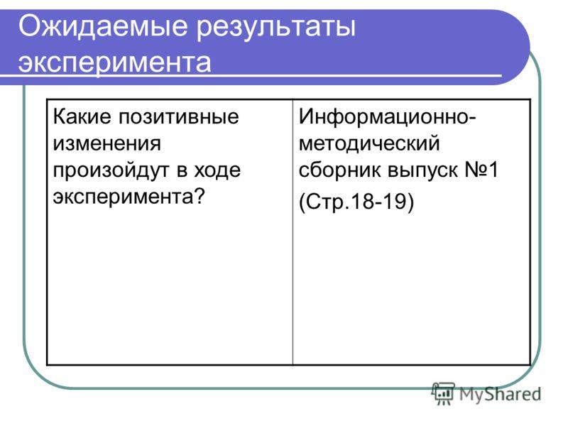 Ожидаемые результаты эксперимента Какие позитивные изменения произойдут в ходе эксперимента? Информационно- методический сборник выпуск 1 (Стр.18-19)