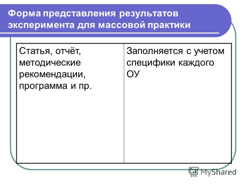 Форма представления результатов эксперимента для массовой практики Статья, отчёт, методические рекомендации, программа и пр. Заполняется с учетом специфики каждого ОУ