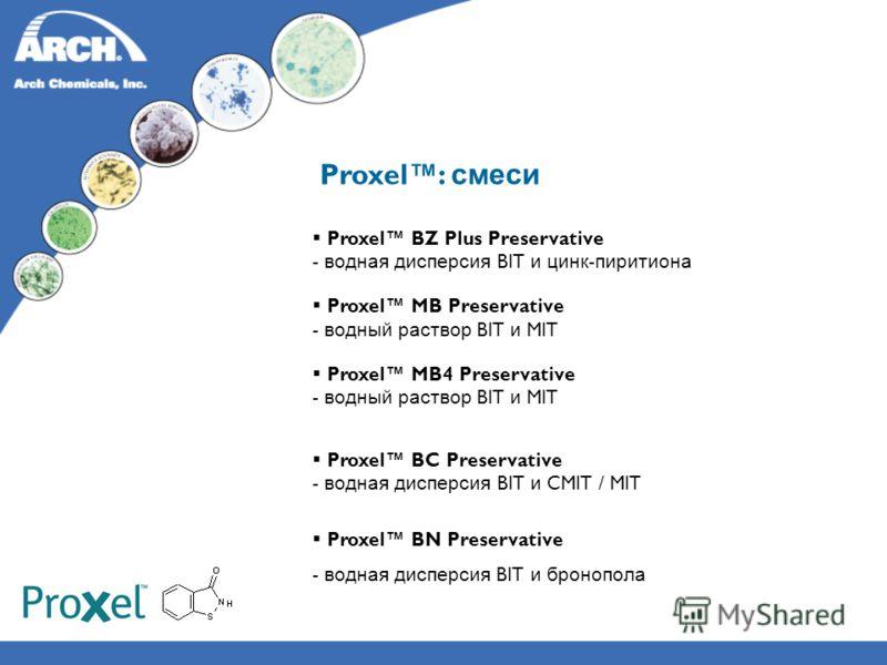 Proxel: смеси Proxel BZ Plus Preservative - водная дисперсия BIT и цинк - пиритиона Proxel MB Preservative - водный раствор BIT и MIT Proxel MB4 Preservative - водный раствор BIT и MIT Proxel BC Preservative - водная дисперсия BIT и CMIT / MIT Proxel