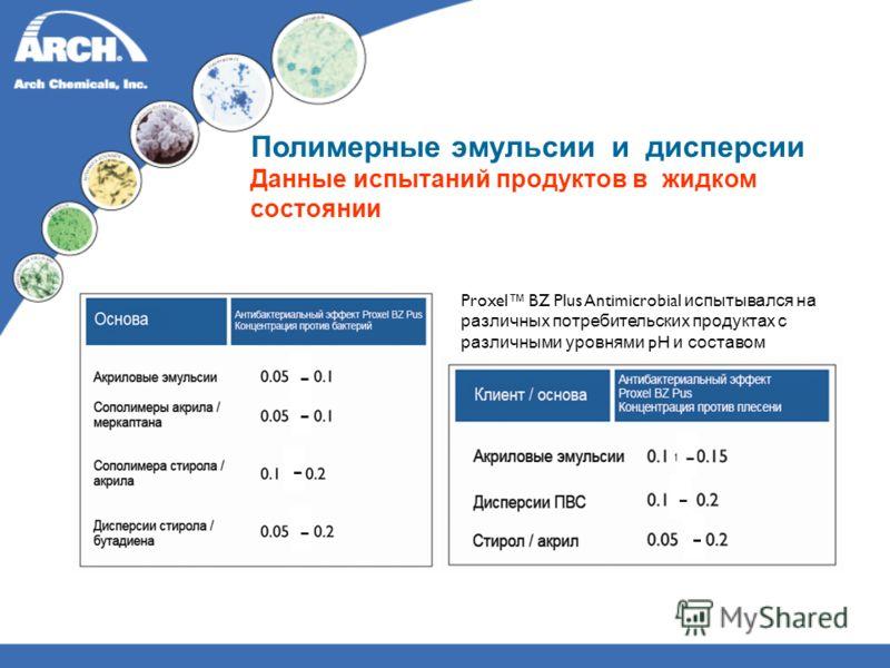 Полимерные эмульсии и дисперсии Данные испытаний продуктов в жидком состоянии Proxel BZ Plus Antimicrobial испытывался на различных потребительских продуктах с различными уровнями pH и составом - - - - - - -
