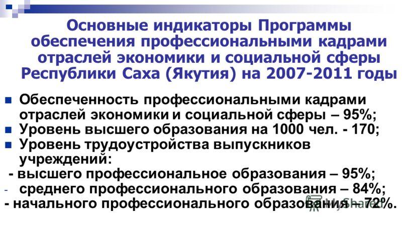 Основные индикаторы Программы обеспечения профессиональными кадрами отраслей экономики и социальной сферы Республики Саха (Якутия) на 2007-2011 годы Обеспеченность профессиональными кадрами отраслей экономики и социальной сферы – 95%; Уровень высшего