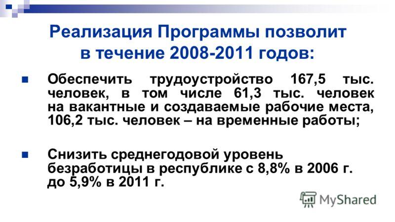 Реализация Программы позволит в течение 2008-2011 годов: Обеспечить трудоустройство 167,5 тыс. человек, в том числе 61,3 тыс. человек на вакантные и создаваемые рабочие места, 106,2 тыс. человек – на временные работы; Снизить среднегодовой уровень бе