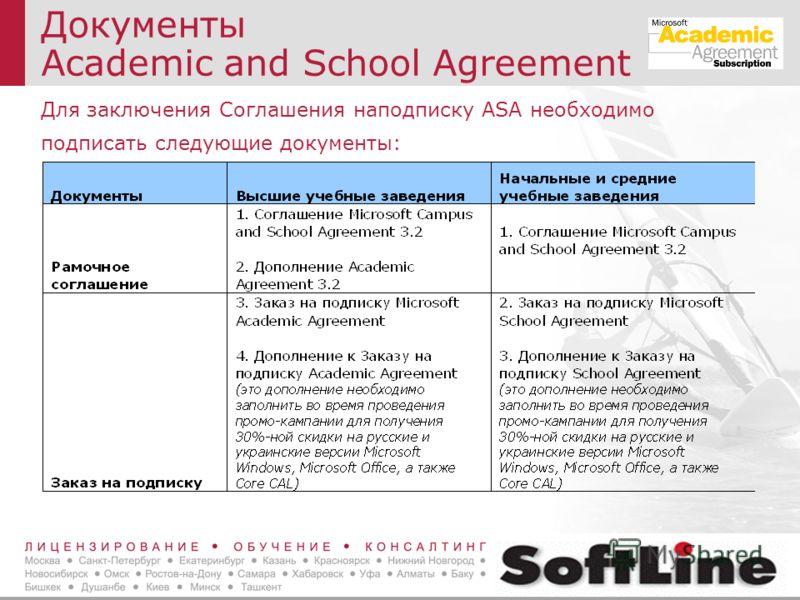Документы Academic and School Agreement Для заключения Соглашения наподписку ASA необходимо подписать следующие документы: