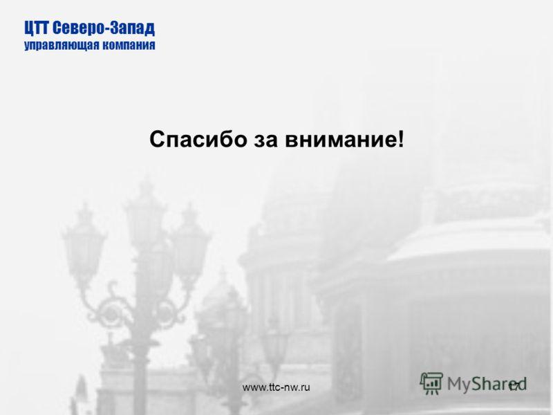 www.ttc-nw.ru16 Организация-монитор ЗАО Управляющая компания – ЦТТ Северо-Запад тел./факс: (812) 331-7564 эл. почта: monitoring@ttc-nw.ru Веб-сайт: www.ttc-nw.ru