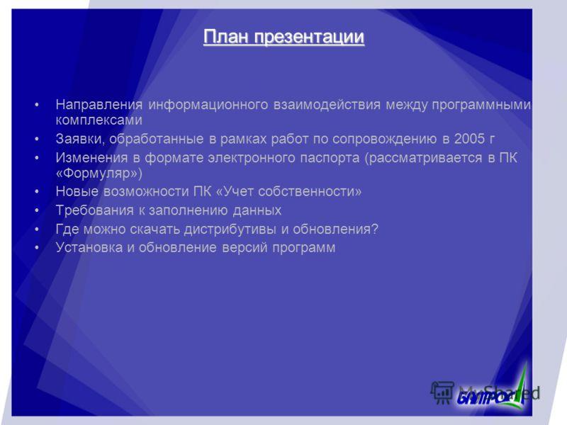 План презентации Направления информационного взаимодействия между программными комплексами Заявки, обработанные в рамках работ по сопровождению в 2005 г Изменения в формате электронного паспорта (рассматривается в ПК «Формуляр») Новые возможности ПК