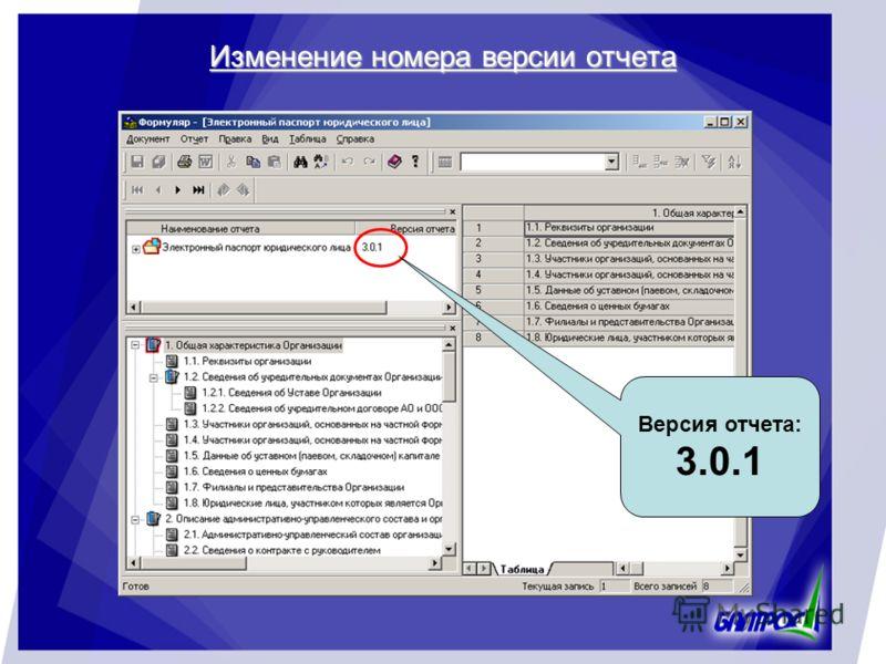 Изменение номера версии отчета Версия отчета: 3.0.1