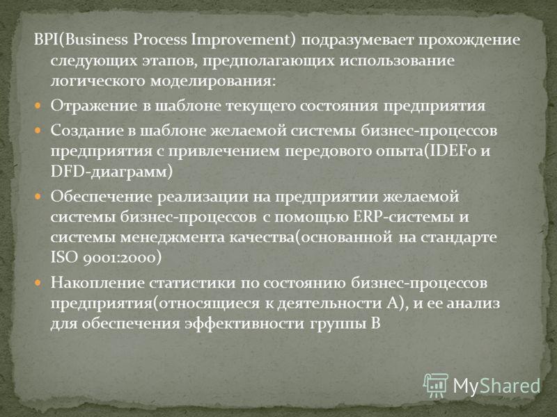 BPI(Business Process Improvement) подразумевает прохождение следующих этапов, предполагающих использование логического моделирования: Отражение в шаблоне текущего состояния предприятия Создание в шаблоне желаемой системы бизнес-процессов предприятия
