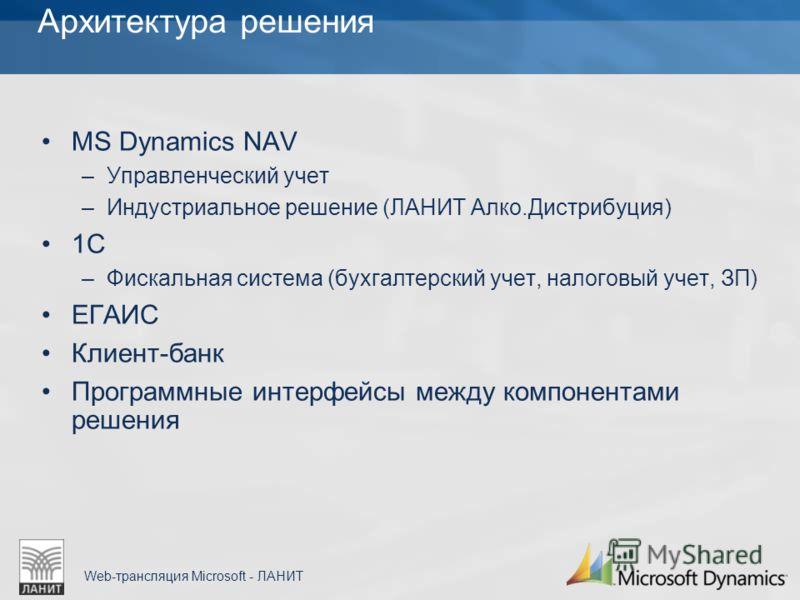 Web-трансляция Microsoft - ЛАНИТ Архитектура решения MS Dynamics NAV –Управленческий учет –Индустриальное решение (ЛАНИТ Алко.Дистрибуция) 1С –Фискальная система (бухгалтерский учет, налоговый учет, ЗП) ЕГАИС Клиент-банк Программные интерфейсы между