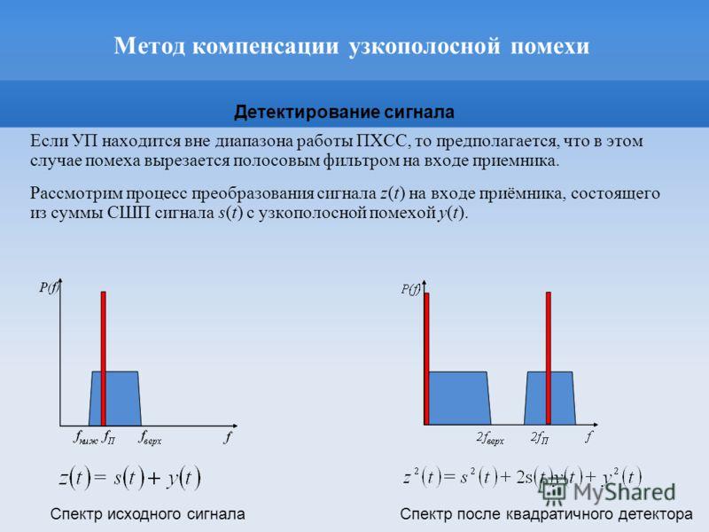 Метод компенсации узкополосной помехи Если УП находится вне диапазона работы ПХСС, то предполагается, что в этом случае помеха вырезается полосовым фильтром на входе приемника. Рассмотрим процесс преобразования сигнала z(t) на входе приёмника, состоя
