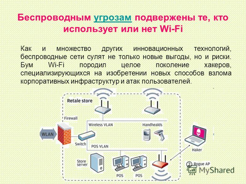 Беспроводным угрозам подвержены те, кто использует или нет Wi-Fiугрозам Как и множество других инновационных технологий, беспроводные сети сулят не только новые выгоды, но и риски. Бум Wi-Fi породил целое поколение хакеров, специализирующихся на изоб
